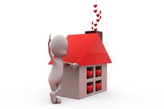 3d man home heart concept Royalty Free Stock Photography