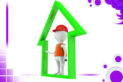 3d man in home icon illustration Royalty Free Stock Photo
