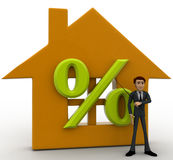 3d man with home icon with percentage discount concept Stock Photography