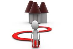 3d man home path concept Stock Images
