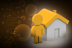 3d man with home,  real estate concept Royalty Free Stock Images