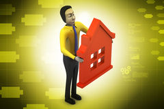 3d man with home,  real estate concept Royalty Free Stock Image