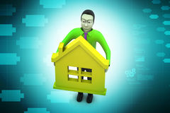 3d man with home,  real estate concept Royalty Free Stock Photography