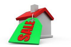 3d man home for sale concept Royalty Free Stock Photo