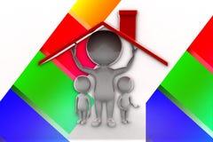 3d Man Home Shelter Illustration Stock Photos