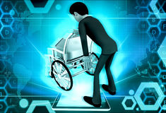 3d man home on wheel chair concept Stock Images
