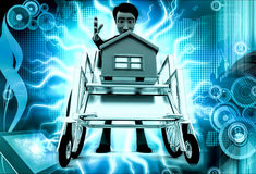 3d man home on wheel chair concept Royalty Free Stock Photo