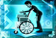 3d man home on wheel chair concept Stock Photo
