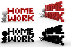 3d man home work Concept Collections With Alpha And Shadow Channel Royalty Free Stock Photos