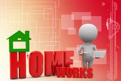 3d man with home works illustration Stock Images