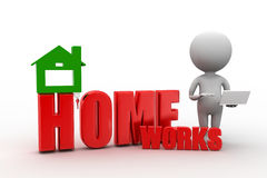 3d man with home works Stock Photos