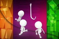 3d man  with hook illustration Stock Photo