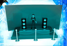 3d man hosting from a green stage with mic and speakers illustration Royalty Free Stock Photography
