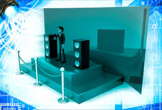 3d man hosting from a green stage with mic and speakers illustration Royalty Free Stock Image