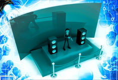 3d man hosting from a green stage with mic and speakers illustration Stock Photo
