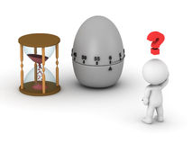 3D Man with Hourglass and Egg Timer Royalty Free Stock Photos