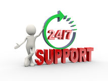 3d man and 24 hours 7 days support Royalty Free Stock Images