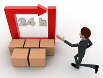 3d man with 24 hours round square arrow and delivery boxes concept Royalty Free Stock Image
