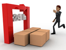 3d man with 24 hours round square arrow and delivery boxes concept Stock Photos