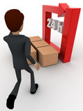 3d man with 24 hours round square arrow and delivery boxes concept Royalty Free Stock Photos