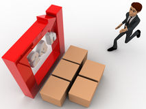 3d man with 24 hours round square arrow and delivery boxes concept Stock Images