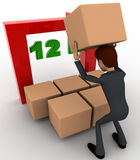 3d man with 12 hours text and boxes concept Royalty Free Stock Photos