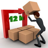 3d man with 12 hours text and boxes concept Stock Images