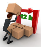 3d man with 12 hours text and boxes concept Royalty Free Stock Photo