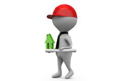 3d man house builder concept Royalty Free Stock Photography