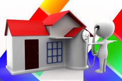 3d Man House Consulting Illustration Royalty Free Stock Image