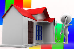 3d Man House Consulting Illustration Royalty Free Stock Photography