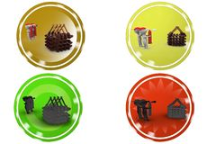 3D Man house fire concept icon Royalty Free Stock Photography