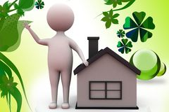 3d man with house illustration Royalty Free Stock Photos