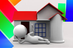 3d Man House Illustration Royalty Free Stock Images
