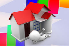 3d Man House Illustration Stock Photography