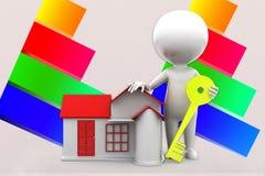 3d Man House Key Illustration Stock Images