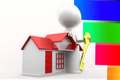 3d Man House Key Illustration Royalty Free Stock Images