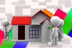 3d Man House Painting Illustration Stock Photos