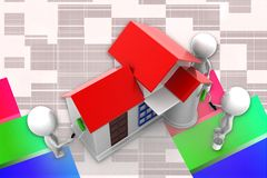 3d Man House Painting Illustration Stock Photography