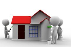 3d Man House Painting Stock Photo