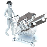 3d man and house. On white Royalty Free Stock Photo