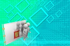 3d man with  how can we help you board hanging on a closed door Illustration Stock Photography