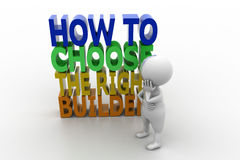 3d man how to choose the right builder concept Stock Photos