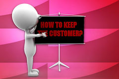 3d man how to keep the customers illustration Royalty Free Stock Photos