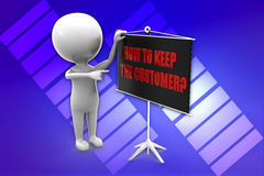 3d man how to keep the customers illustration Stock Images