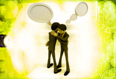 3d man hugging with chat bubble illustration Stock Photography
