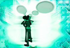 3d man hugging with chat bubble illustration Stock Photos