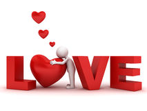 3d man hugging red heart in word love Stock Photo