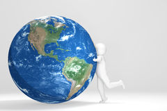 3D man hugsEarth - South und north America Edition Royalty Free Stock Photography
