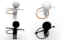 3d man hula hoop concept collections with alpha and shadow channel Stock Images